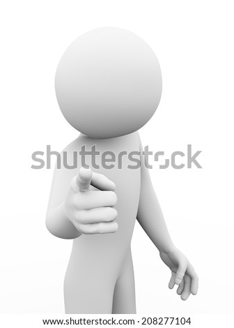 3d rendering of angry man pointing finger to you. 3d white people man character - stock photo