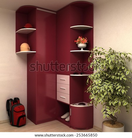 3d rendering of apartment lobby wall unit - stock photo