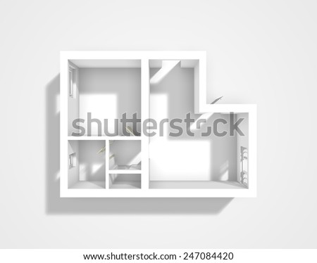 3d rendering of apartment walls without furnishings - stock photo