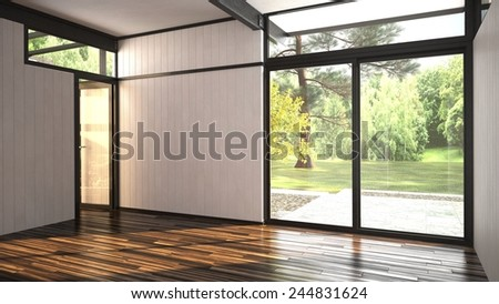 3D Rendering of Architectural background of a modern empty room with floor-to ceiling window overlooking a lush garden and outdoor patio with an interior glass door over a hardwood parquet floor - stock photo