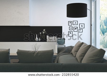 3D Rendering of Architectural Interior Design - Gray Sofa on Beautiful Lounge Room with Elegant Decorations. - stock photo