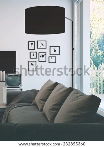 3D Rendering of Architectural living room area with simple gray couch and black lamp shade, Surrounded by decorated white wall and glass windows. - stock photo