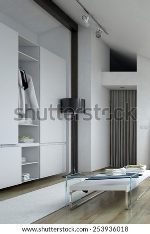 3d Rendering of Architectural Wall Cabinet and Short Table Inside a White Modern Style Room - stock photo