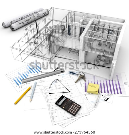 3D rendering of Architecture model on top of a table with mortgage application form, calculator, blueprints, etc..