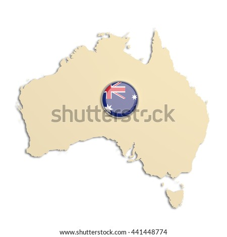 3d rendering of Australia map with button flag on white background - stock photo