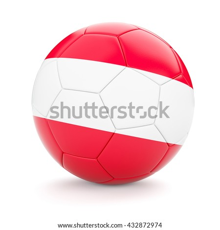 3d rendering of Austria soccer football ball with Austrian flag isolated on white background - stock photo