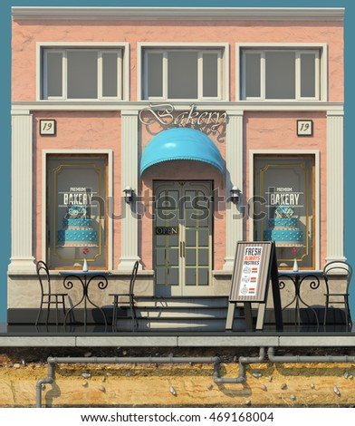 3d rendering of background with small bakery shop. 3d cartoon style cute European building. Detailed pink facade with columns and big cake showcases. Street cafes.Outdoor seating.