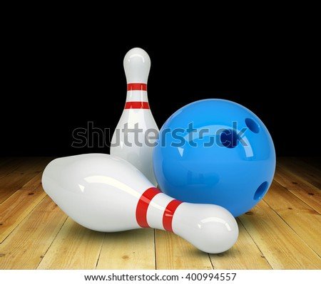 3D rendering of ball with two pins on black background, game concept