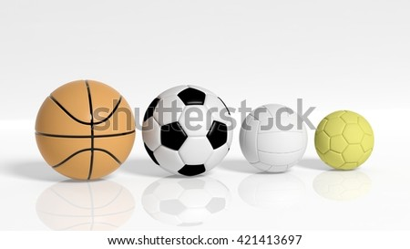 3D rendering of Balls of different sizes on white background