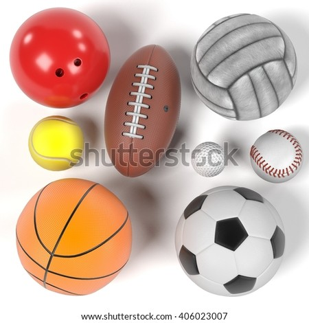 3d rendering of balls set