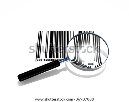 3d rendering of bar-code scanning, with magnify glass - stock photo