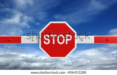 3d rendering of barrier with stop sign on sky background