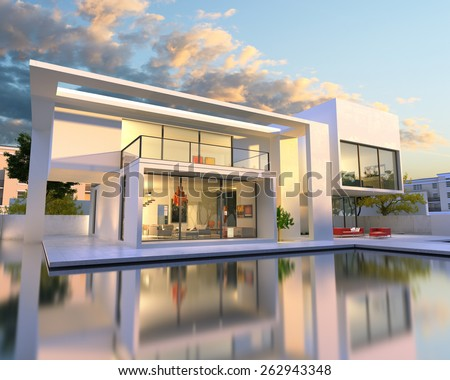 3D rendering of beautiful modern villa with pool, late afternoon - stock photo