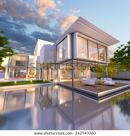 luxurious villa swimming pool dusk stock illustration 361283462 shutterstock. Black Bedroom Furniture Sets. Home Design Ideas
