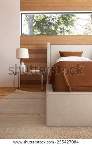 3D Rendering of bedroom interior with bed wooden front walls and lamp. - stock photo