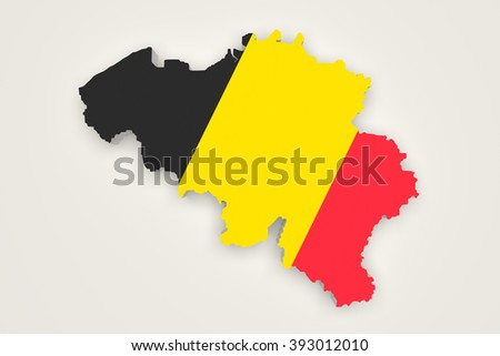 3d rendering of Belgium map and a flag on the background - stock photo