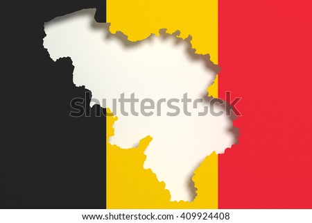 3d rendering of Belgium map and flag on background.