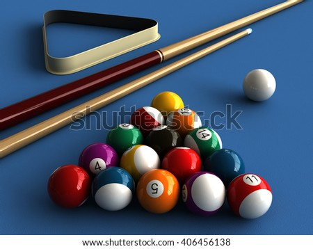 3d rendering of billiard balls and stick over billiard table - stock photo