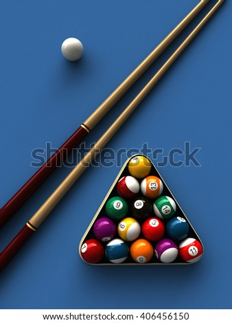 3d rendering of billiard balls and stick over billiard table
