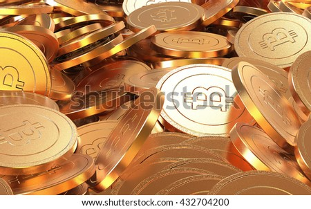 3d rendering of Bitcoins.