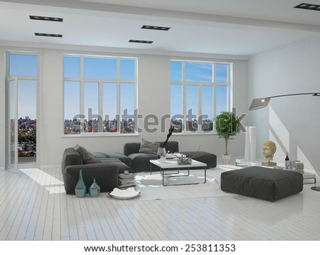 3D Rendering of Black and Gray Furniture in an Elegant Living Room Inside an Architectural White House