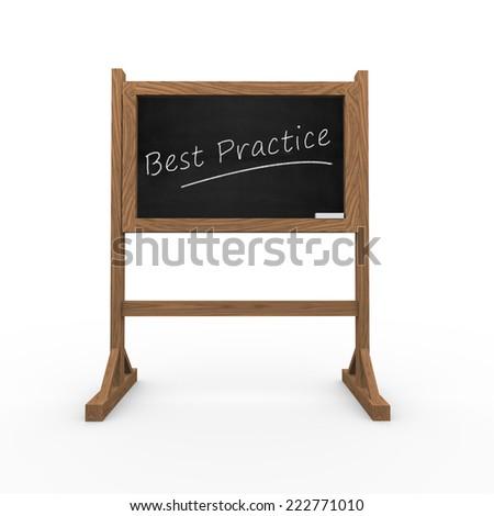 3d rendering of black chalkboard presentation of concept of best practice - stock photo