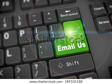 3d rendering of black computer keyboard with green enter key of word email us and email envelope shape - stock photo