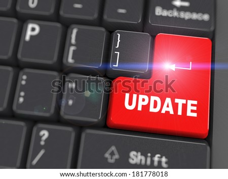 3d rendering of black computer keyboard with red update button - stock photo