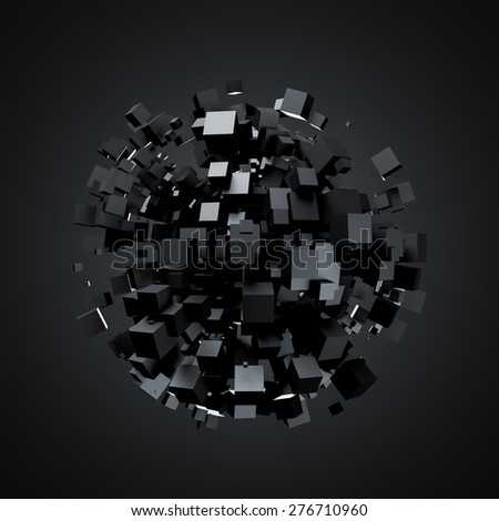 3D rendering of black cubes. Sci-fi background. Abstract sphere in empty space. Futuristic shape. - stock photo