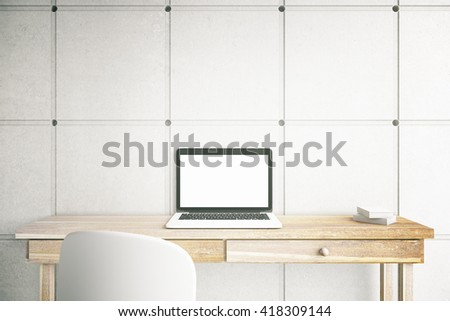 3D Rendering of blank mock up laptop screen on office desktop. Home freelance desktop with open laptop computer with white copy space display. Business via internet concept - stock photo