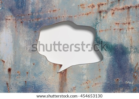 3D rendering of blank speech bubble carved in shabby and grunge metal wall - stock photo