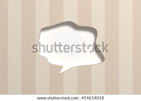 3D rendering of blank speech bubble carved n wall with stripes - stock photo