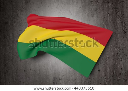 3d rendering of Bolivia flag waving on a dirty background