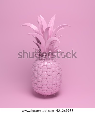 3d rendering of bright tiki style pineapple. Summer fun background. Trendy poster with vivid colors, pastel pink.  - stock photo