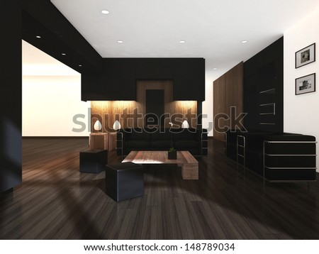 3D rendering of brown color living room.  - stock photo