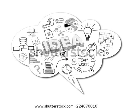 3d rendering of bubble speech of business drawing sketch concept - stock photo