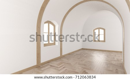 3d Rendering Of Building Interior With A Barrel Vault Ceiling