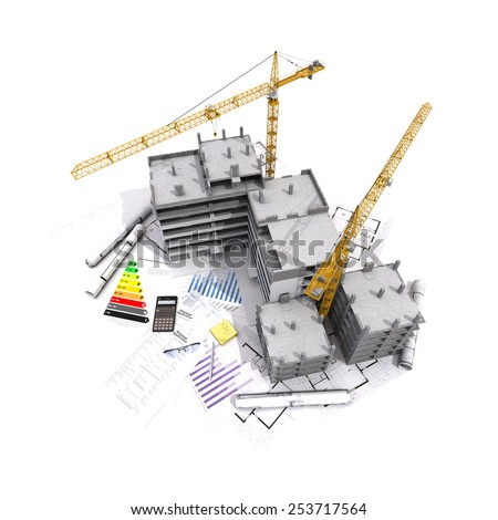 3D rendering of Buildings under construction on top of blueprints, mortgage forms, energy efficiency charts - stock photo