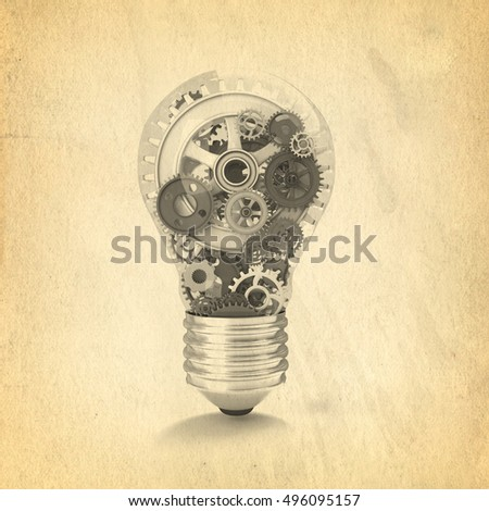 3d rendering of bulb with gear part