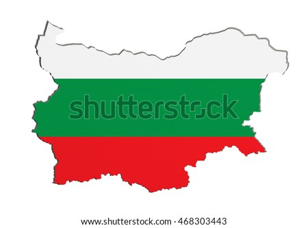 3d rendering of Bulgaria map and flag on white background.