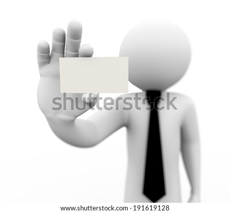 3d rendering of business man holding empty business card. 3d white people man character. - stock photo