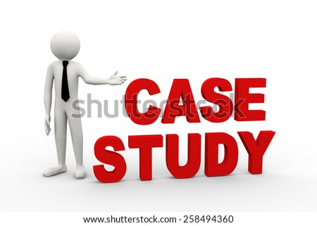 3d rendering of business person presentation of case study word. 3d white people man character - stock photo