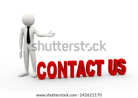 3d rendering of business person presentation of contact us word. 3d white people man character - stock photo