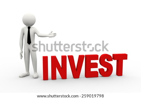 3d rendering of business person presentation of invest word. 3d white people man character - stock photo