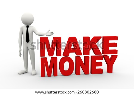 3d rendering of business person presentation of make money word. 3d white people man character - stock photo