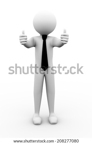 3d rendering of business person showing thumbs up.  3d white people man character