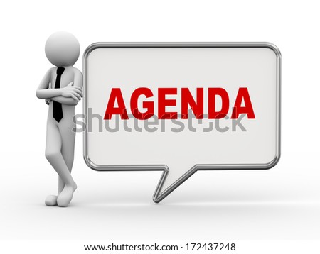 3d rendering of business person standing with agenda bubble speech. 3d white people man character - stock photo