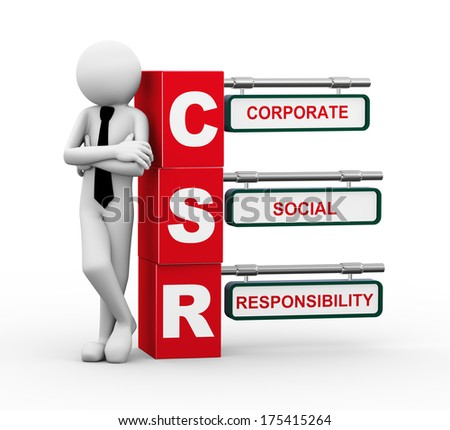 3d rendering of business person standing with csr - corporate social responsibility. 3d white people man character. - stock photo