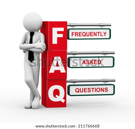 3d rendering of business person standing with faq - frequently asked question. 3d white people man character. - stock photo