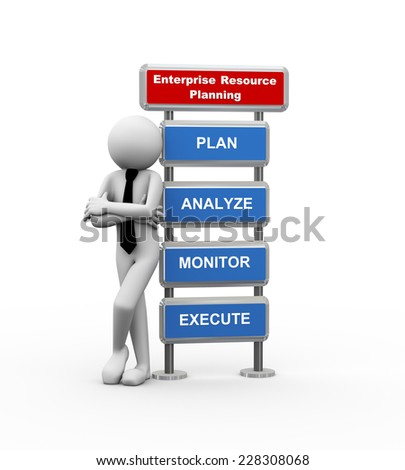 3d rendering of business person standing with modern sign board presenting concept of erp enterprise resource planning . 3d white people man character - stock photo
